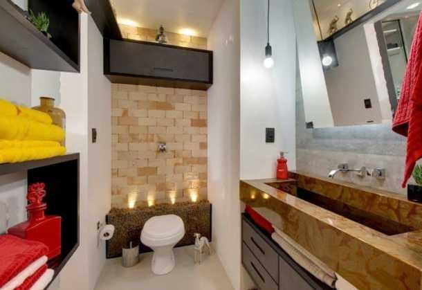 11 lavabo com parede de tijolo a vista