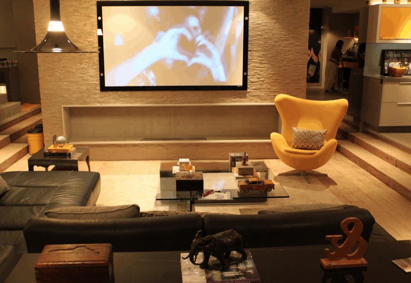 Sala De Estar Com Poltrona Amarela ~ poltrona egg amarela na sala de tv decoracao