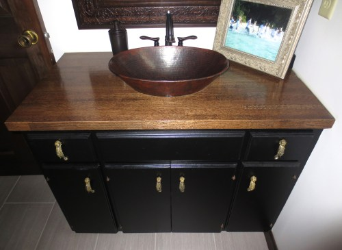 vanity remodel, black cabinets, copper sink, construciton2style