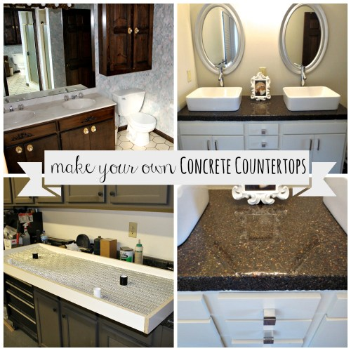Before and After pictures of a bathroom remodel featuring a tutorial on how to make your own Concrete Countertops made by Jamie Molitor