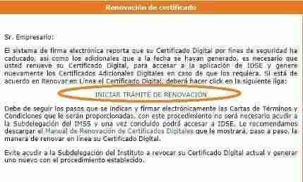 renovar idse Certificado Digital del IMSS   Consideraciones al Renovar IDSE