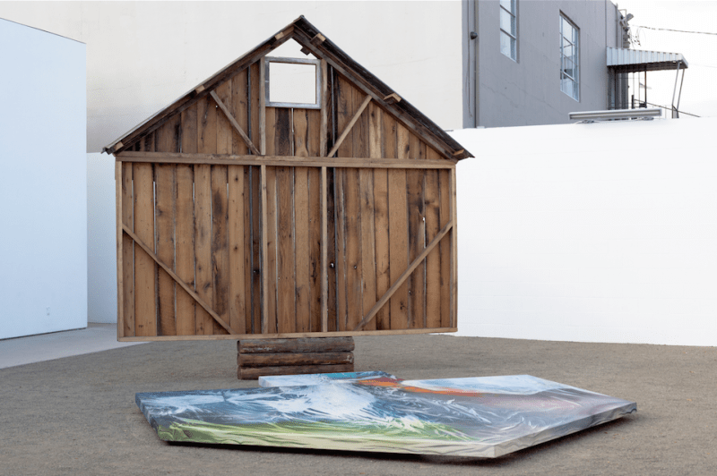 April Street, Portrait of Bam:1840-2015 (2015). Reclaimed 1840-1920s barn wood, tin, steel, bronze, acrylic, hoisery, canvas, dimensions variable. Image courtesy of the artist and Various Small Fires. Photo: Veli-Mati Hoikka.