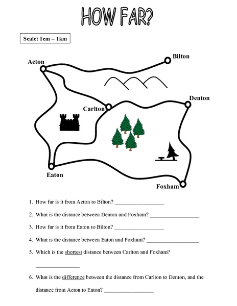 Map Scale Practice | Worksheet | Education.com