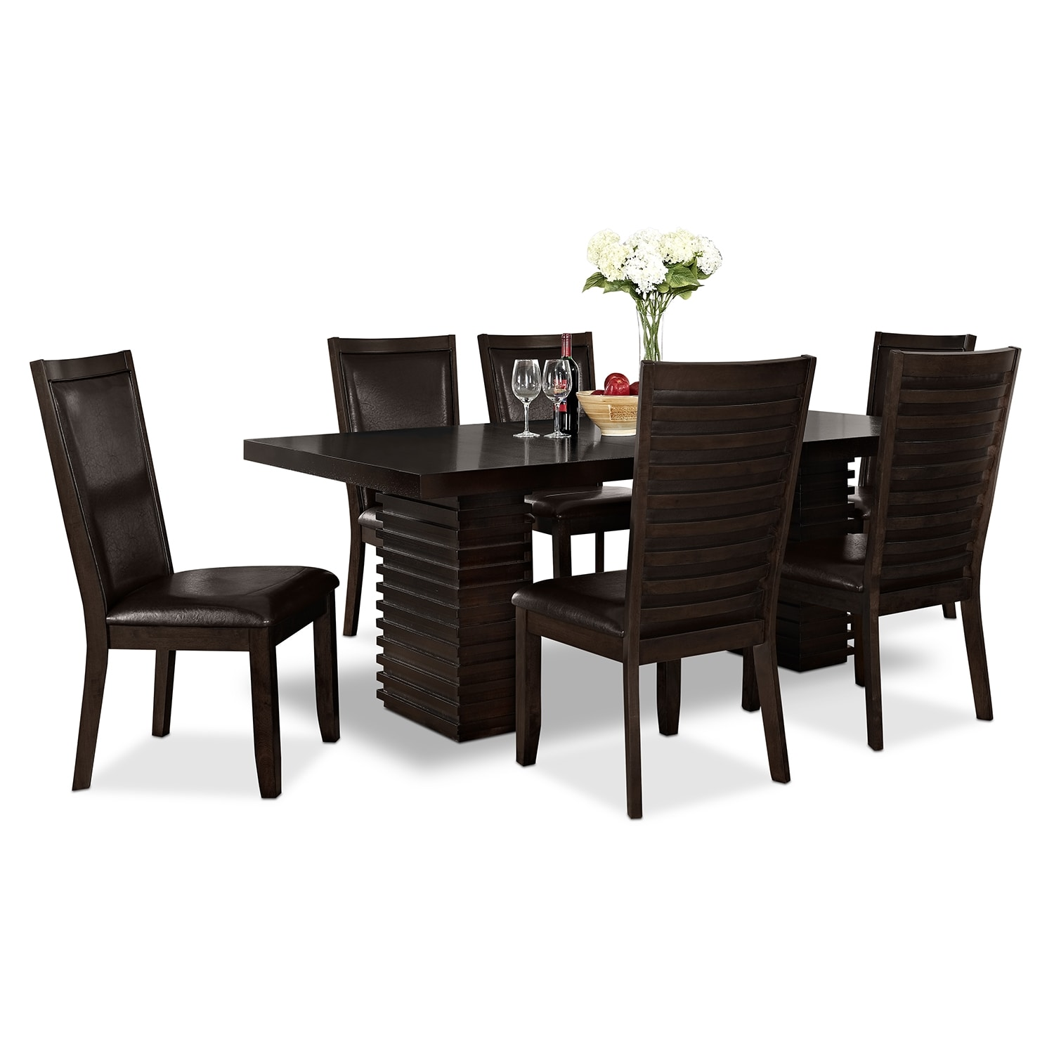 dinettes kitchen table las vegas Paragon Table and 6 Chairs Merlot and Brown