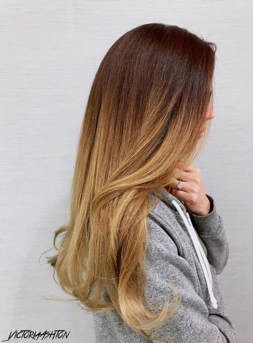 38 Hottest Ombr     Hair Color Ideas of 2018 Walnut Brown to Dark Blonde for Long Hair