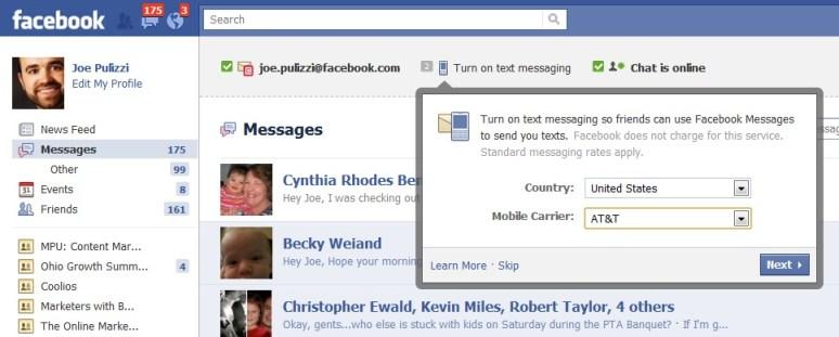 Facebook Texting