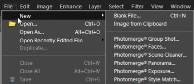 photoshop elements, new file