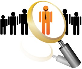 scrutinizing candidates with magnifying glass