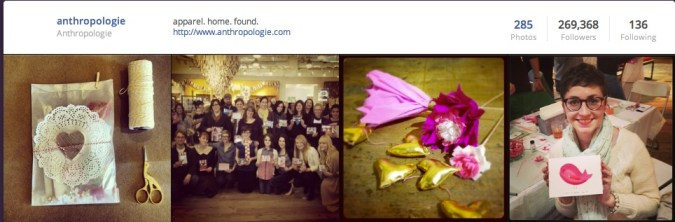 watch anthropologie on social media