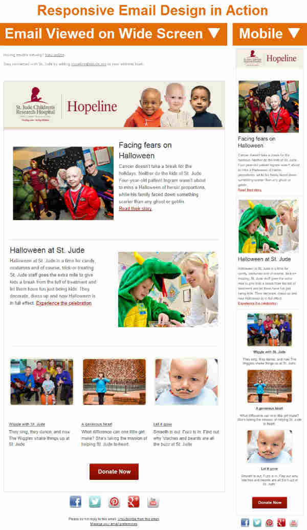 responsive email design-st. jude