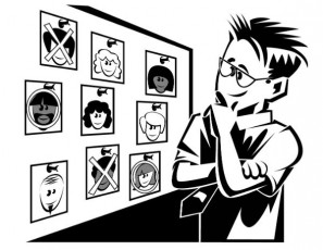 drawing-man deciding among head shots