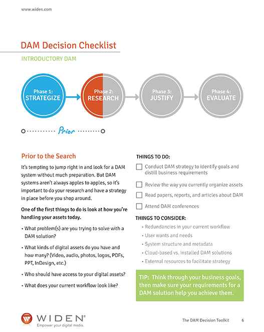 widen DAM decision checklist