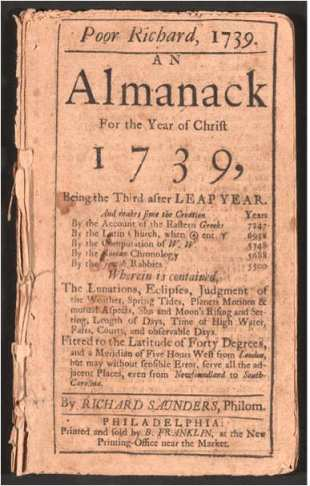 1739 almanack page