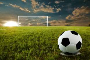 soccer ball-distant net-green field