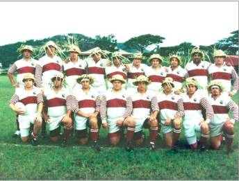 rugby team-palm frond hats