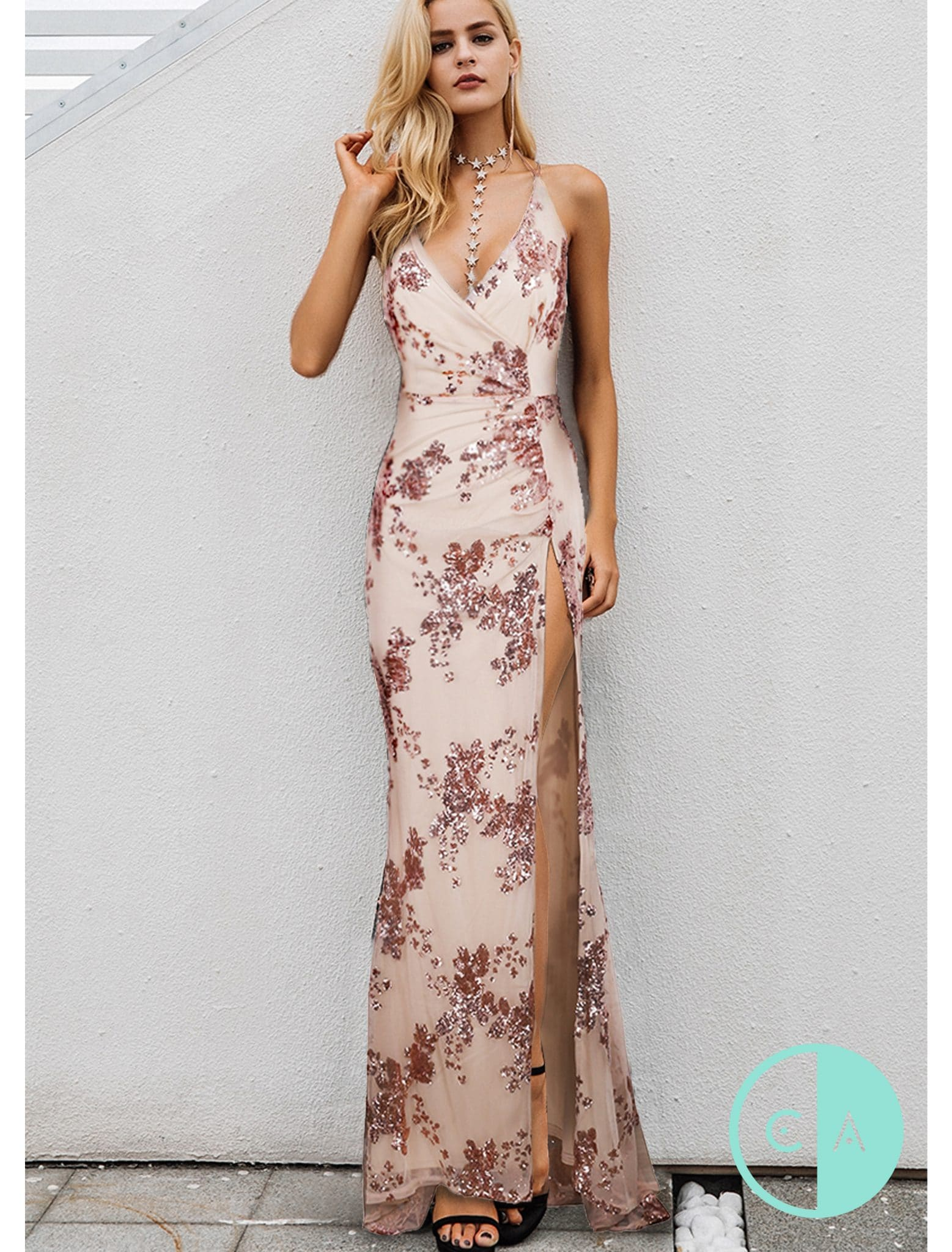 Splendid Limited Edition Nude Rose G Sequin Maxi T Split 4 Rose G Sequin Dress Dillards Rose G Sequin Dress Macys wedding dress Rose Gold Sequin Dress