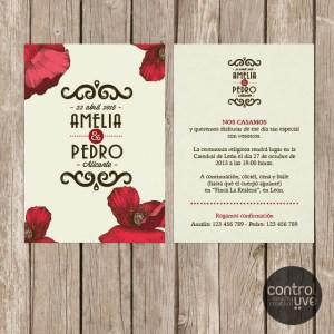 Invitacion_vintage amapolas