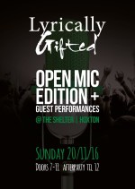 Lyrically Gifted: 'The Open Mic Edition' – Sunday, November 20   Events