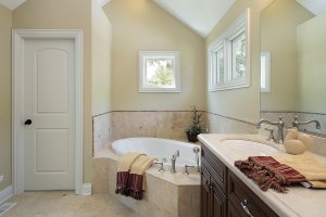 Master bath in new construction home with tub design area