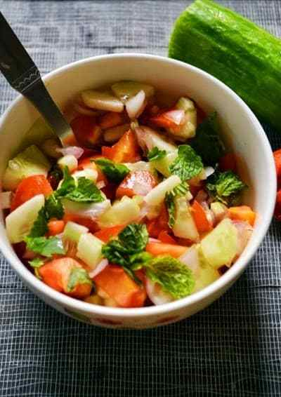 Kachumber (cucumber,onion,tomato salad) recipe | how to make kachumber