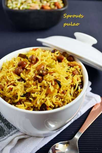 sprouts pulao recipe,how to make sprouts pulao