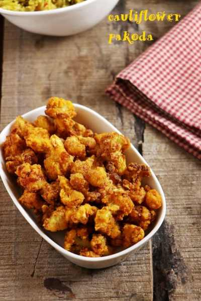 cauliflower fritters recipe, cauliflower pakoda recipe