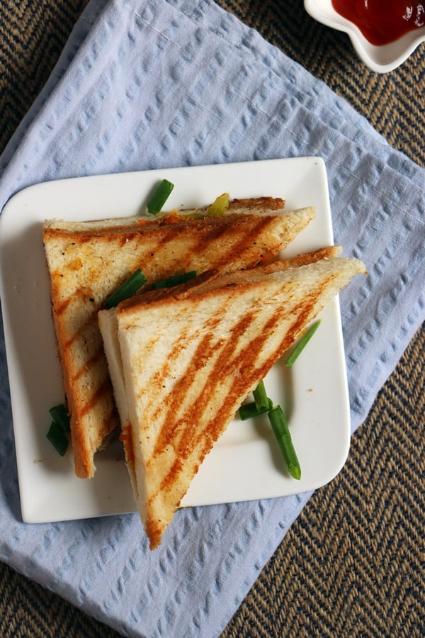 how to make a vegetable sandwich step by step