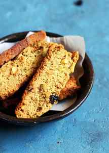 Cranberry pistachio biscotti recipe-vegan and no maida recipe