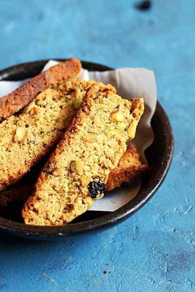 Cranberry pistachio biscotti recipe-vegan and no maida recipe