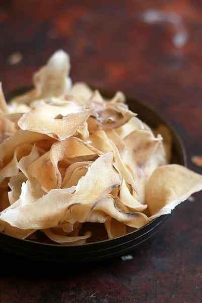Sun dried potato chips recipe | Homemade potato wafers recipe
