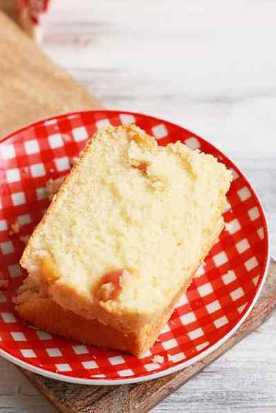 eggless pound cake recipe with fresh cherries