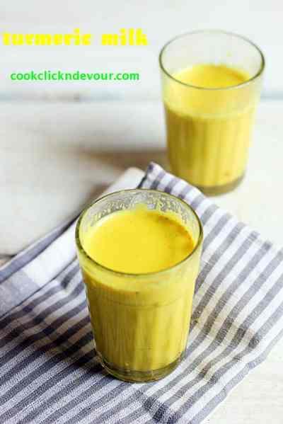 Turmeric milk recipe, how to make turmeric milk, Manjal milagu paal recipe | Haldi doodh