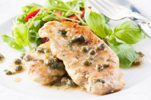 Cropped chicken piccata