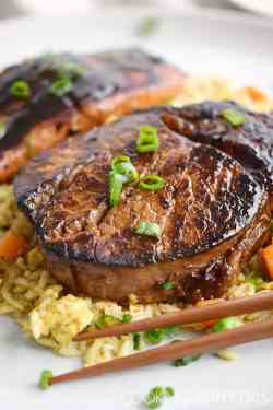 Terrific Grilled Cooking Salmon Cooking Japanese Hibachi Steak This Japanese Hibachi Steak Salmon Is Marinated Curls Salmon Steak Recipe Skillet Salmon Steak Recipes Grilled