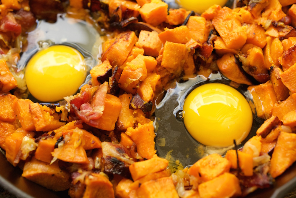 Bacon And Sweet Potato Hash With Avocado Cream Recipes — Dishmaps