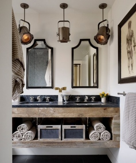 Bathroom of black, charcoal gray, and unfinished wood