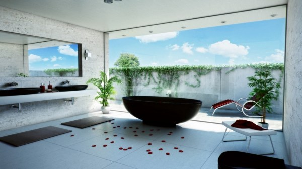 Glass-Walled Bathroom