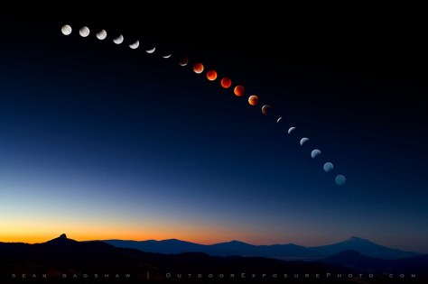 Lunar Eclipse Over Mt. Shasta