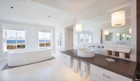 Nantucket Master Bathroom with a gorgeous view
