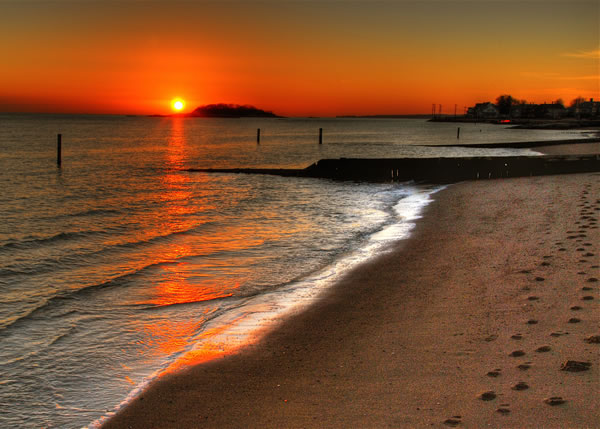 Sunset with Footprints