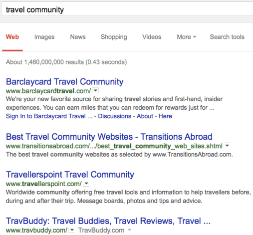 Niche Communities SERP - image