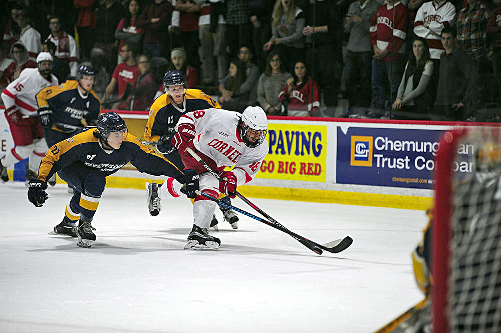Sophomore Jared Fiegl had two shots on net in the Reds' 5-2 exhibition victory over Ryerson.