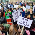 Ithacans take to the streets in October 2015 to march as part of the Black Lives Matter movement (David Navadeh / Sun Staff Photographer).