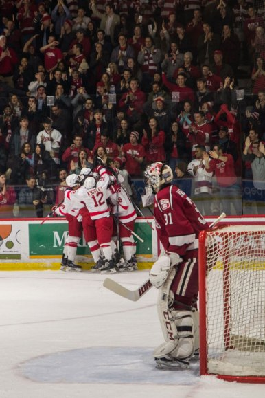 The Red cut the deficit to 3-2, but Harvard ended the game with four straight goals to complete the victory.