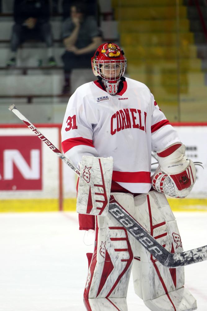 Junior goalie Paula Voorheis' solid effort in net wasn't enough as Cornell lost a pair of games to Clarkson.