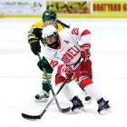 Senior forward Taylor Woods scored the Red's first goal in the overtime game against RPI.