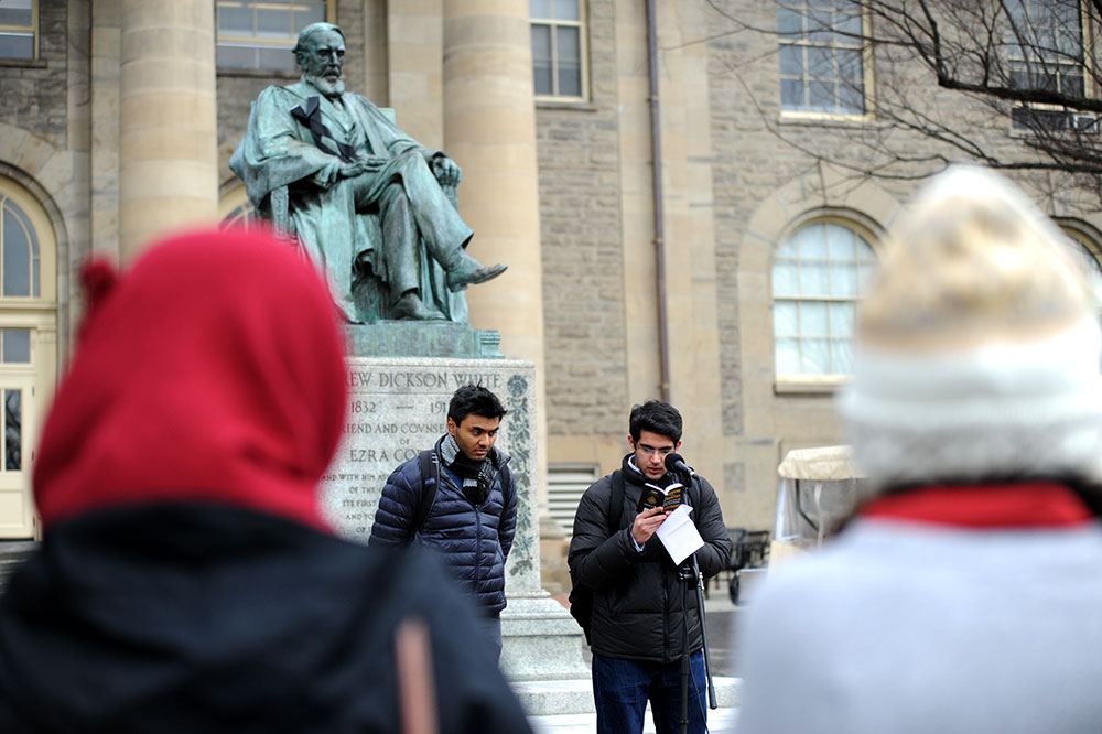 Students gather on the Arts Quad for an interfaith prayer in honor of President Elizabeth Garrett at 2:15 p.m. Friday.