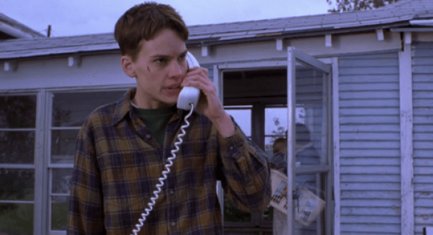 HIlary Swank as Brandon Teena in Boys Don't Cry.