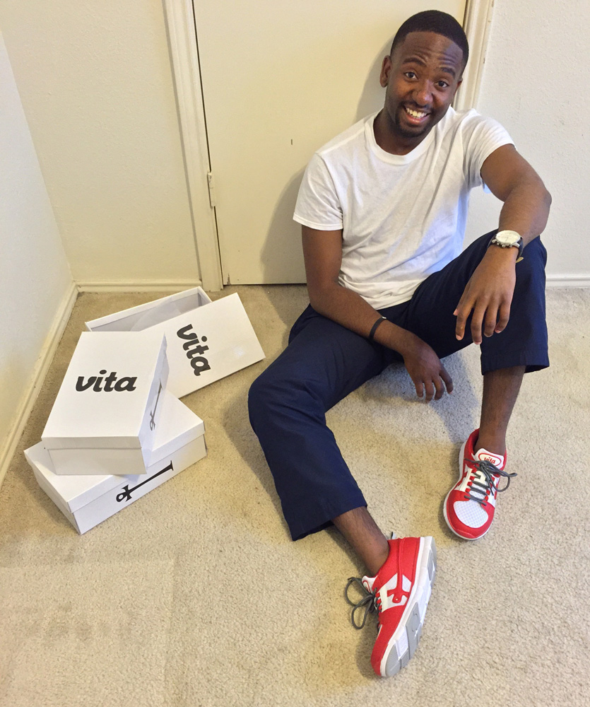Founder of Vita Shoes Daniel Abaraoha '18, who says he couldn't afford expensive name brand shoes and started his philanthropy-driven company.