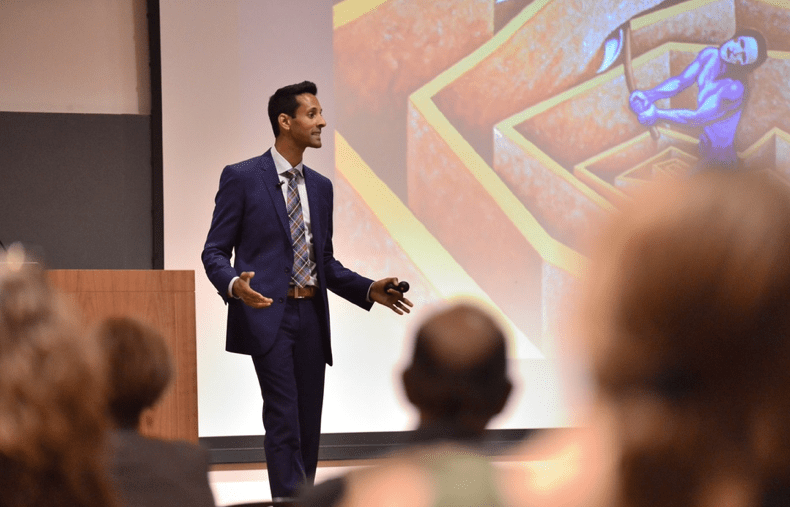 Dean of Students candidate Vijay Pendakur discusses his life story and his vision for Cornell at an open forum Friday.